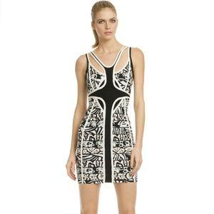 Hervé Léger Geometric Bandage VIP Access Dress S